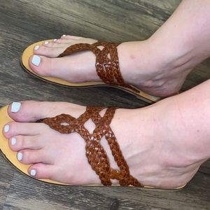 Urban Outfitters Braided Boho Brown Leather 9